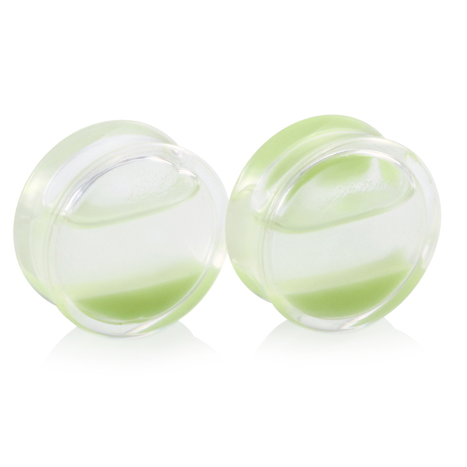 SwanJo Pair Glow In The Dark Liquid ear gauges percings plugs acrylic ear plug earrings body piercing jewelry pircing oreja