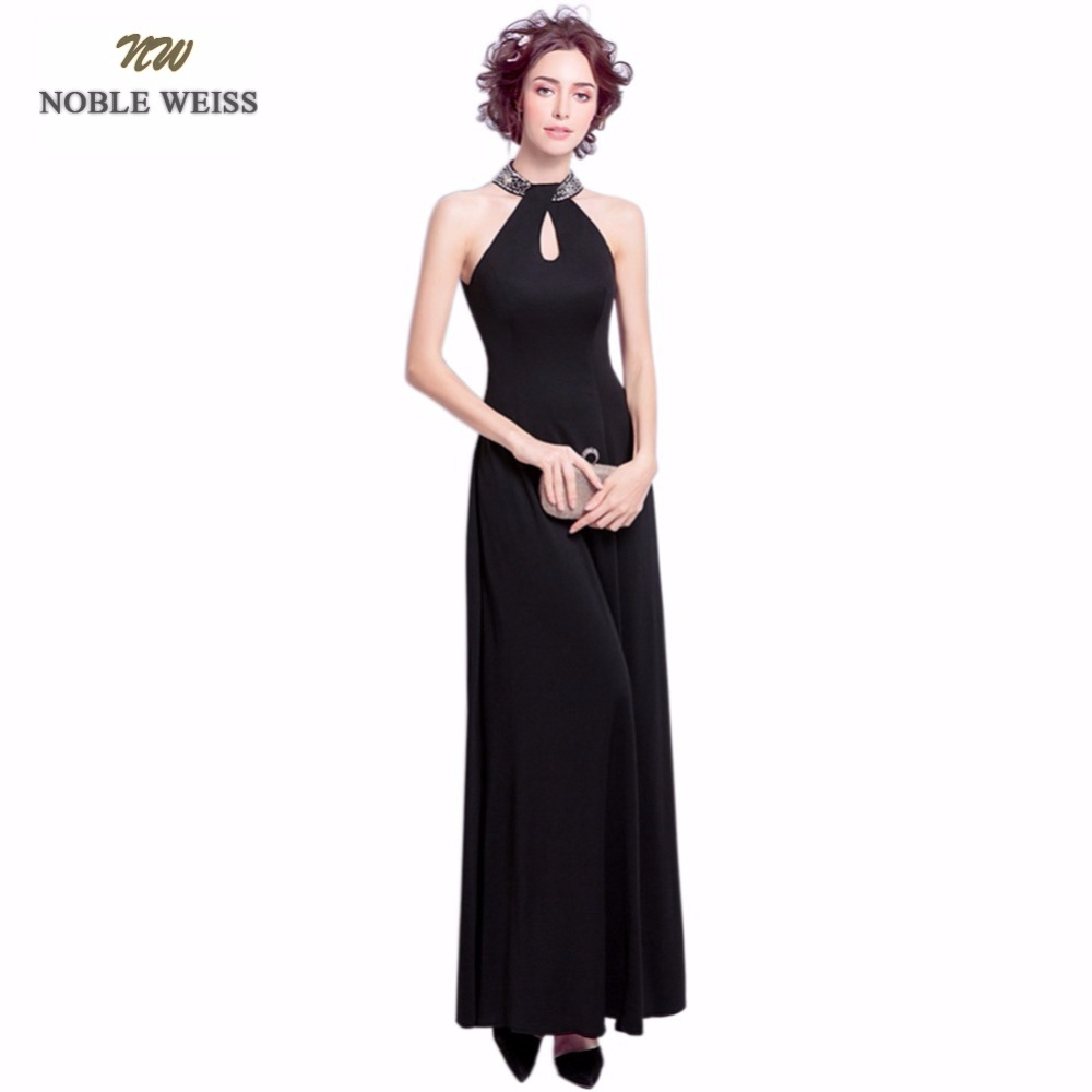 NOBLE WEISS Black Evening Dresses Long 2019 High Quality Satin Custom Made Beading Evening Gowns Party