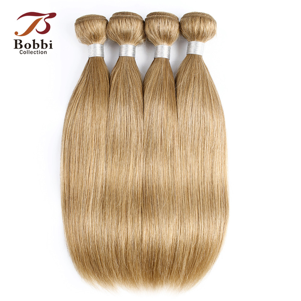 Human Hair Weaves Hair Extensions & Wigs Bobbi Collection 2/3/4 Bundles Color 27 Honey Blonde Remy Human Hair Extension Pre-colored Brazilian Straight Hair Weave Bundles Elegant And Sturdy Package