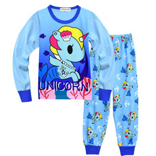 Купить с кэшбэком New Unicornio Costume Unicorn Pajamas Sets Cotton Baby Clothes Little Kids Children Clothes Toddler Girls Boys Sleepwear 3-10Y