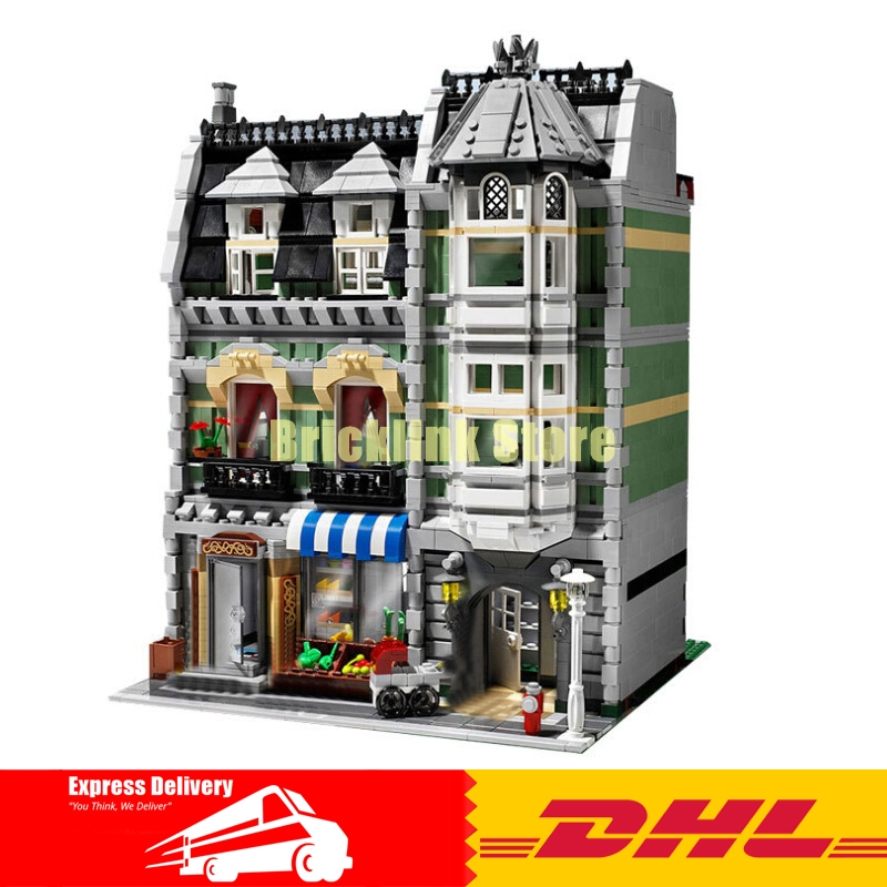 Lepin 15008 2462Pcs City Street Green Grocer Model Building Kits Blocks Bricks Compatible Educational toys 10185 dhl lepin15008 2462pcs city street green grocer model building kits blocks bricks compatible educational toy 10185 children gift