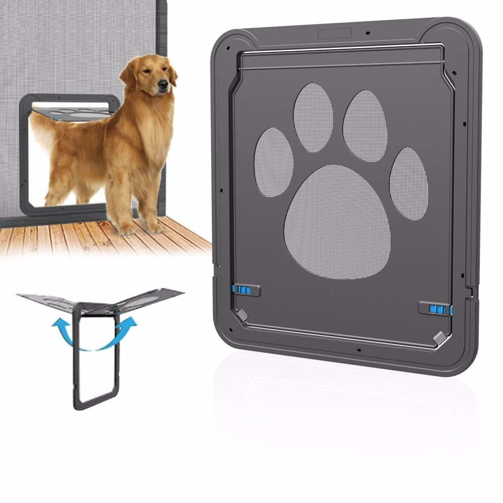 Pet dog cat door multifunction magnetic automatic lock pet for Automatic locking dog door