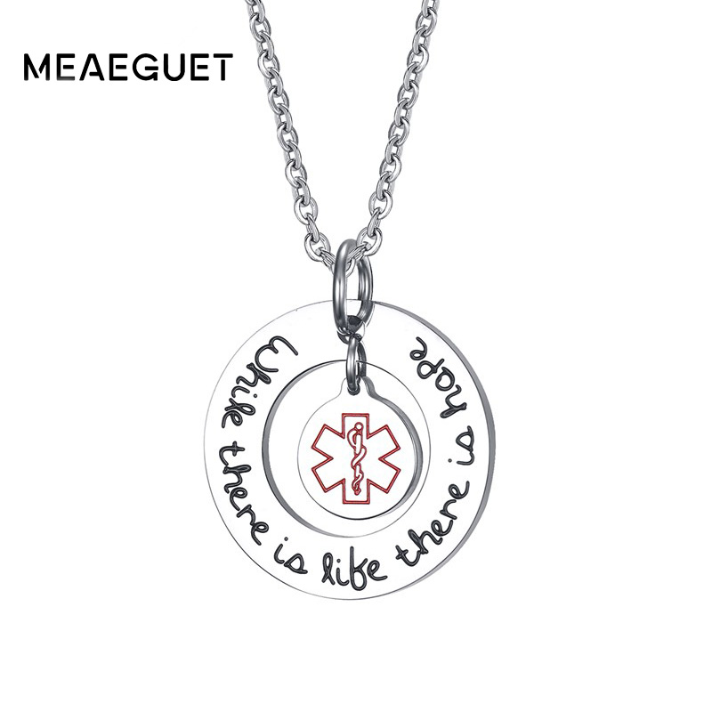 Meaeguet Round Medical Necklace Remind Illness Stainless Steel Pendants For Female Jewelry
