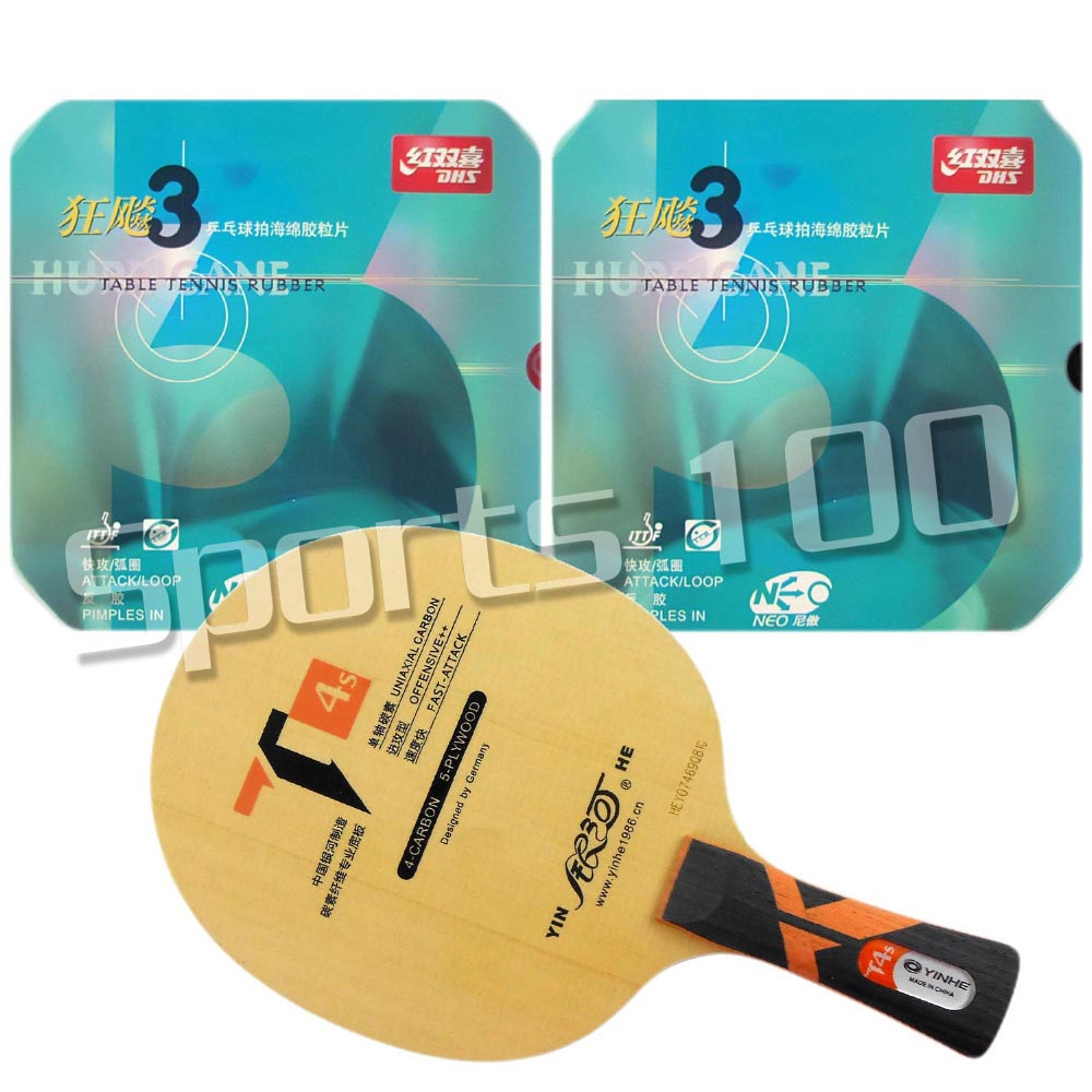 Pro Combo Racket Galaxy YINHE T4s with 2x DHS NEO Hurricane 3 Rubbers Long Shakehand FL