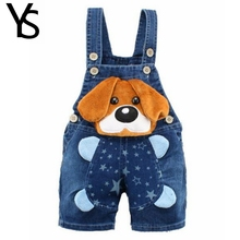 9M 3T Baby Boys Jeans Overalls Shorts Infant Toddlers Kids Denim Rompers Cute Dog Jumpsuit For