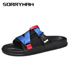 2019 Summer Mens Slides Fashion Beach Slippers Men Lightweight Flip Flops Men Outdoor Anti-Slip Slippers Sandals Men Big Size 46 men trendy soft anti slip flip flops slippers