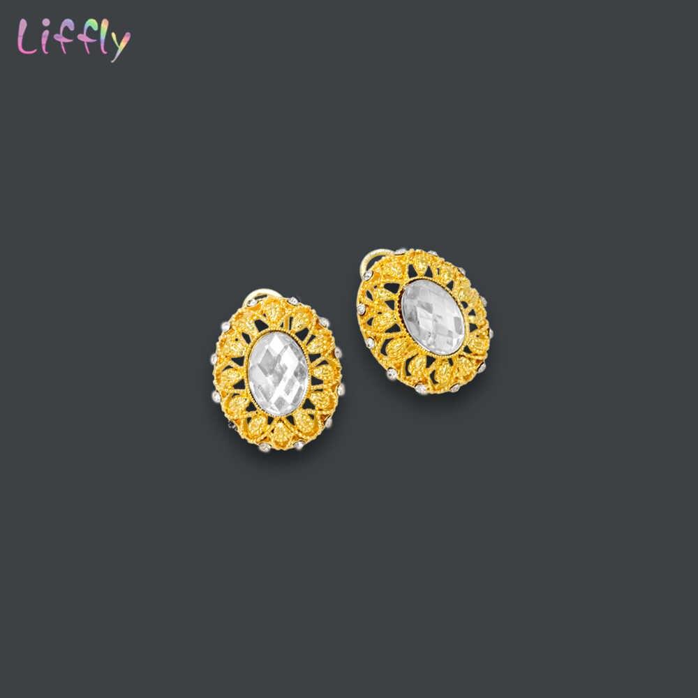 Liffly Роскошные ювелирные изделия из золота из Дубаи комплекты свадебный подарок Цепочки и ожерелья Ювелирный Комплект в индийском стиле модные ювелирные серьги Для женщин