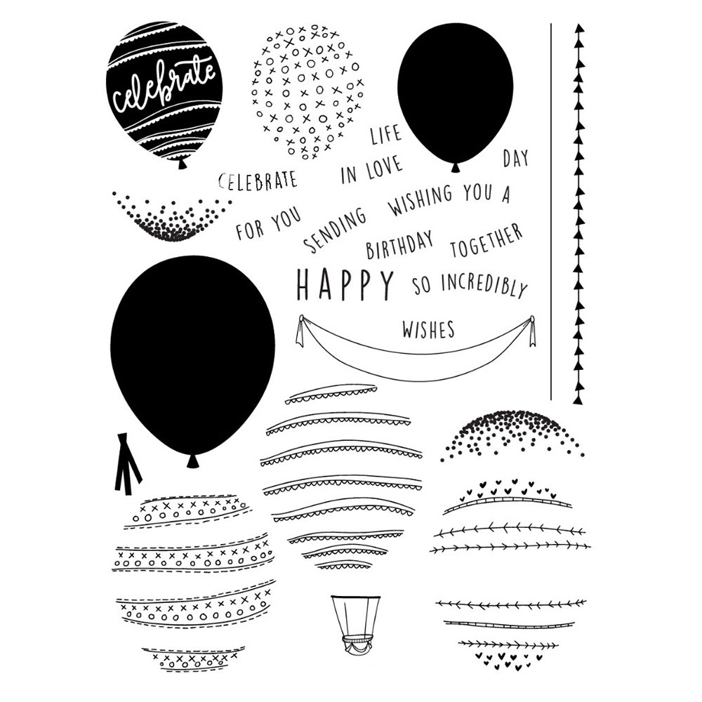 Happy Balloons Transparent Clear Silicone Stamp Seal for DIY scrapbooking photo album Decorative clear stamp in Stamps from Home Garden