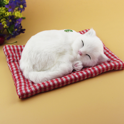 simulation cat model toy about 19x14cm lovely sleep cat miaow sound, mat cat craft car decoration toy birthday gift a2123