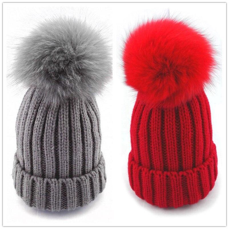 Bnaturalwell Children Winter Fox Fur Hat For Girls Boy Real Fur Pompoms Ball Baby Warm Beanies Cap Kids Knitted Pompom Hat H045S