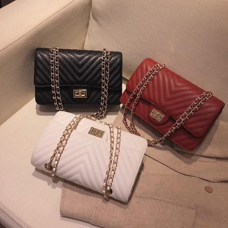 Fashion Female Shoulder Bags PU Leather Women's Crossbody Bag Luxury Designer Lingge Handbags Chains Sheepskin Totes 2019