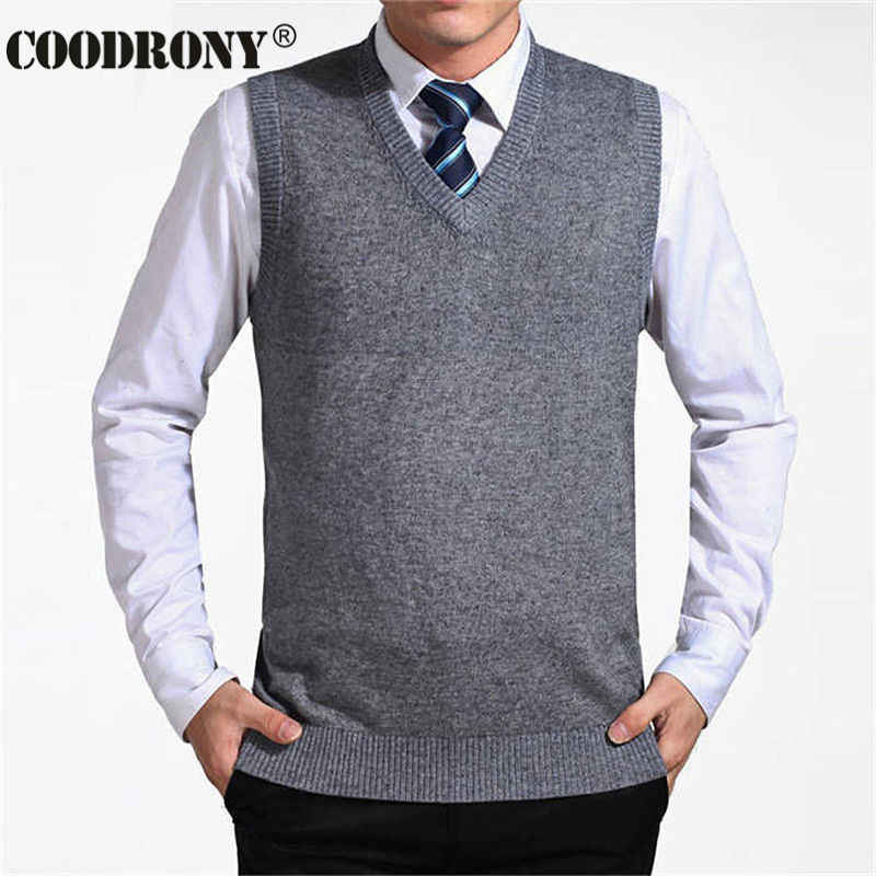 COODRONY 2019 New Arrival Solid Color Sweater Vest Men Cashmere Sweaters Wool Pullover Men Brand V-Neck Sleeveless Jersey Hombre