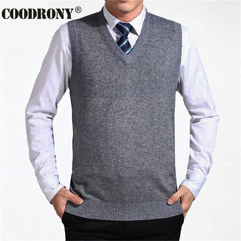 COODRONY 2018 nueva llegada Color sólido suéter hombres chaleco suéteres de Cachemira Jersey de lana de la marca de los hombres de cuello en V sin mangas Jersey Hombre