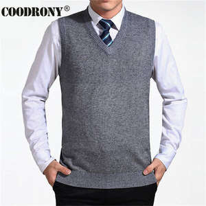 COODRONY Sweater Vest Jersey Wool Pullover V-Neck Men Cashmere Sleeveless Brand Solid