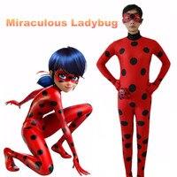 2017 Kids Adult Miraculous Ladybug Cosplay Costume With Mask Ladybug Romper Costume Cat Suit Halloween Women