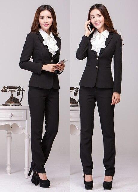 Nova moda Plus Size fino 2015 Femininos outono inverno desgaste do trabalho profissional de Pant ternos uniformes de estética