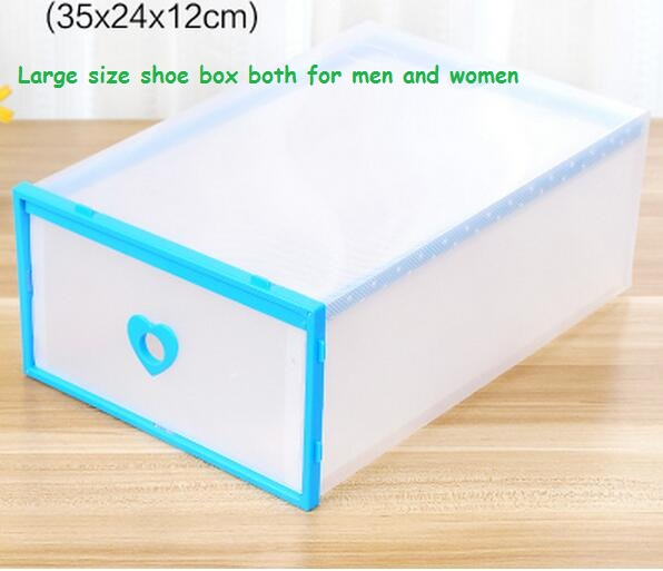 5pcs/lot Heart shaped Large Size Optional Transparent Clear Plastic Shoe Box Stackable Foldable Storage Drawer Organizer 35*24cm