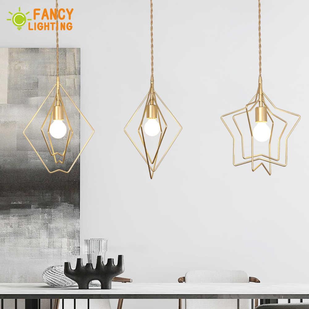 (Source de lumière E27 gratuitement) luminaire suspendu nordique étoile/coeur/diamant lampe à main pour salle à manger/salon/décor à la maison luminaire suspendu
