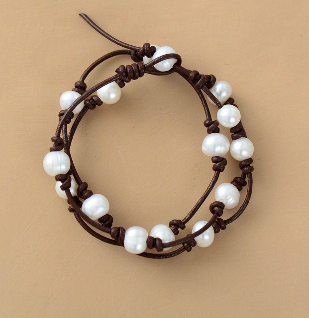Fabulous FRESHWATER Pearl Leather Cord Boho Strand Bracelet Knotted String  EY54