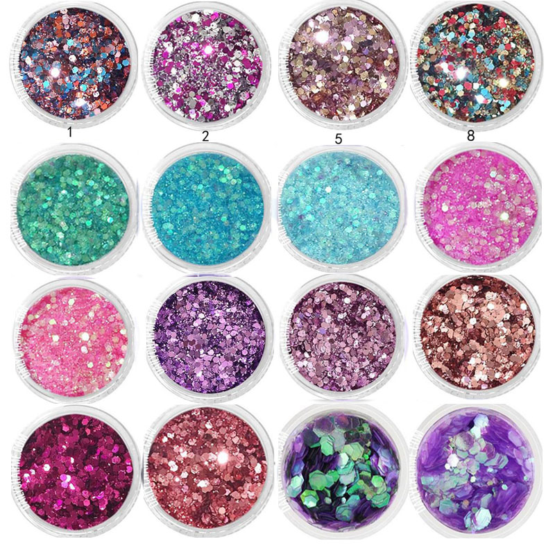 1Box 10ml Chunky Glitter Hexagon Flakes For Eye Face Body Shiny Glitter Sequin Nail Art Tip Decor 0.2-2mm Glitter For Nail Art