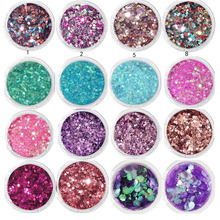 1Box 10ml Chunky Glitter Hexagon Flakes For Eye Face Body Shiny Sequin Nail Art Tip Decor 0.2-2mm