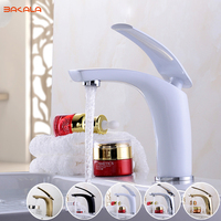 Free Shipping BAKALA Bathroom Faucet Grilled White Paint Chrome Finish Brass Basin Sink Faucet Mixer Tap