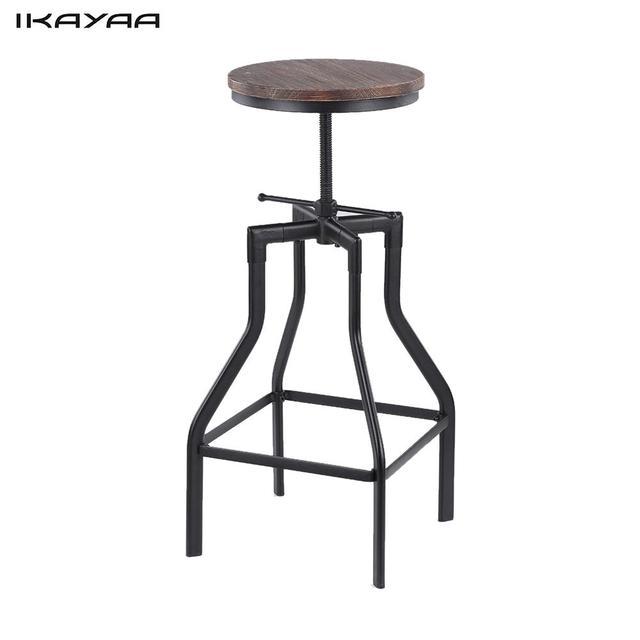 Ikayaa Height Adjustable Swivel Bar Stool Industrial Style Natural