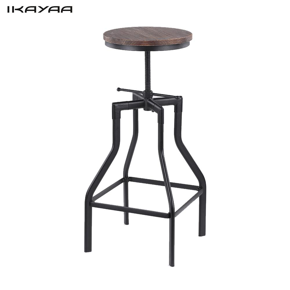 iKayaa Height Adjustable Swivel Bar Stool Industrial Style Natural Pinewood  Top Metal Bar Stool Furniture US - Online Get Cheap Industrial Bar Stools -Aliexpress.com Alibaba Group