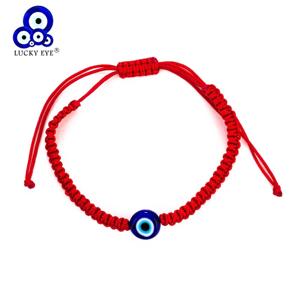 Evil Eye Lucky Bracelet Glass Blue Bead Adjustable Rope String Hamsa Charm Gift