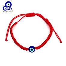 Ojo de la suerte turco pulseras de ojo maligno para los hombres y las mujeres hecho a mano Cadena de cuerda trenzada pulsera roja mujer EY1404