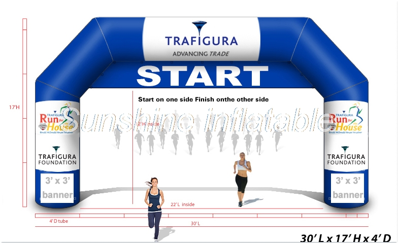 Free blower 9m blue start finish line inflatable arch with detachable banner