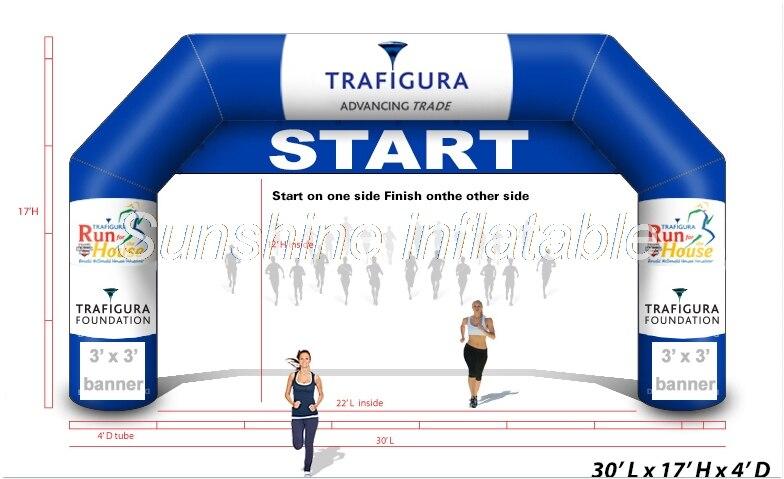 Libre de 9 m azul a la línea de meta arco inflable desmontable con banner