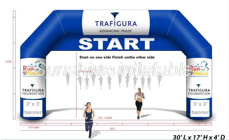 Ventilatore libero 9 m blu di avvio finitura linea arco gonfiabile con staccabile banner