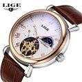 LIGE Mens Relógios Top Marca de Luxo 2016 Dos Homens Relógio Do Esporte Turbilhão Mecânico Automático de Couro relógio de Pulso relogio masculino