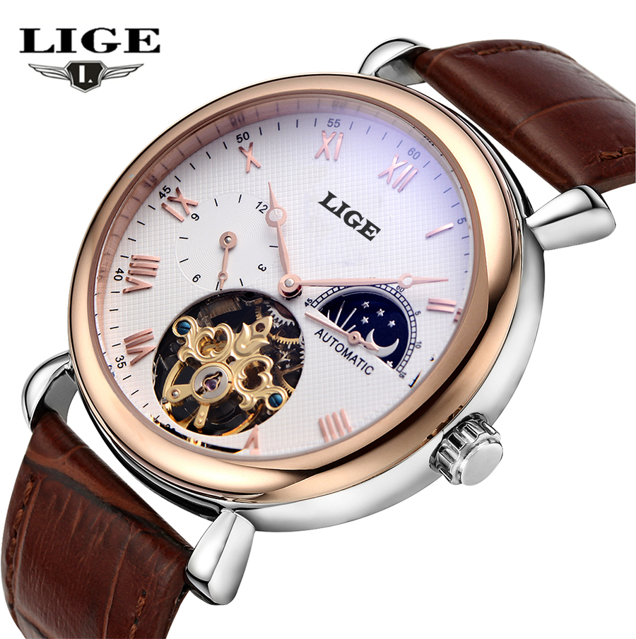 Mens Watches Top Brand Luxury LIGE 2016 Men Watch Sport Tourbillon Automatic Mechanical Leather Wristwatch relogio masculino mens wristwatch relogio masculino fashion sport watches men lige tourbillon top brand luxury automatic mechanical watch