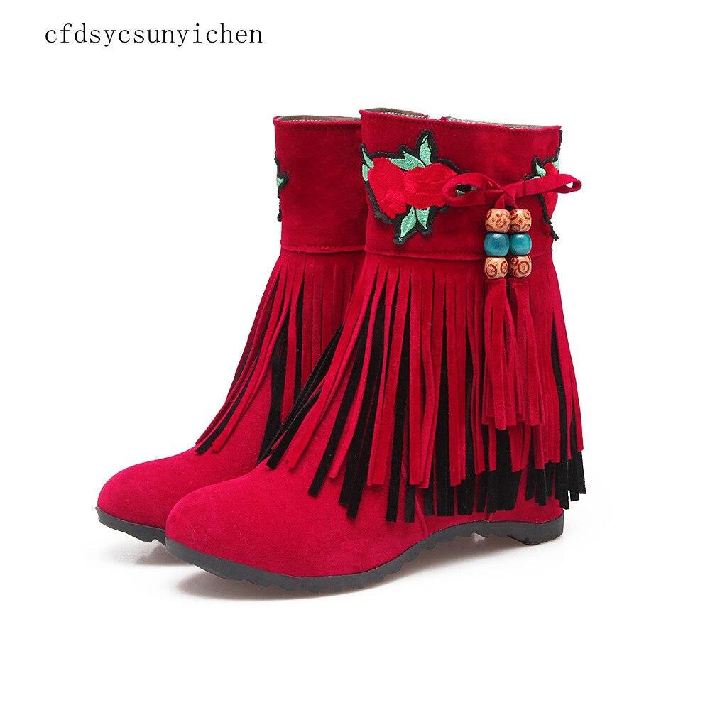 Femmes chaussures bottes rouge noir abricot Plus grande taille 10 haute qualité marque femmes chaussures hauteur augmentant BM-GT-059