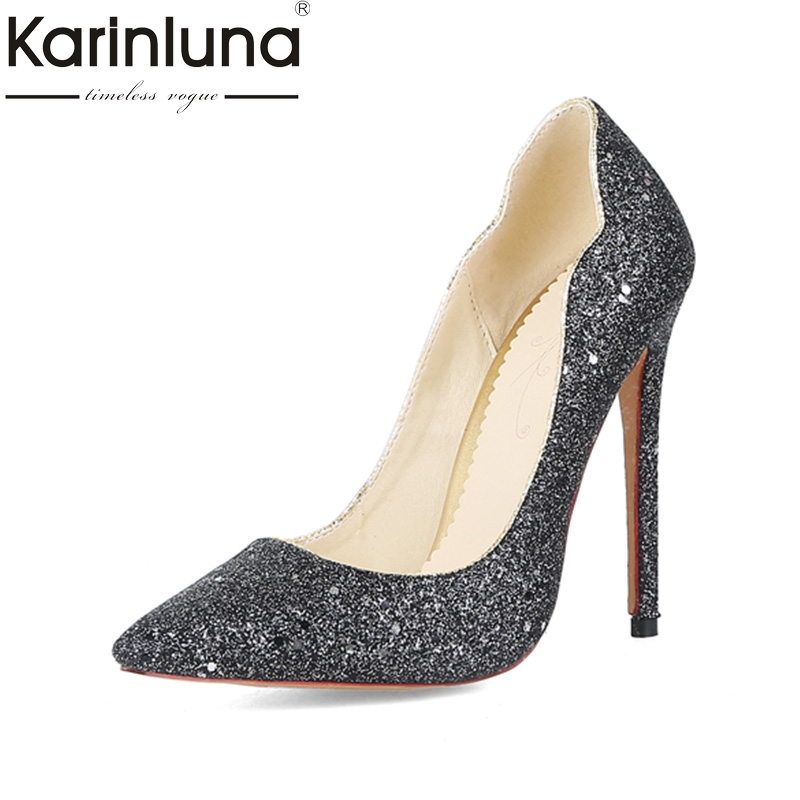 KARINLUNA 2018 Large Sizes 31-44 Pointed Toe Party Shoes Women Sexy Super Thin High Heels Bling Wedding Pumps Woman Shoes Sliver lucyever fashion buckle crystals bling pumps women elegant thin high heels point toe party wedding shoes woman glod sliver black