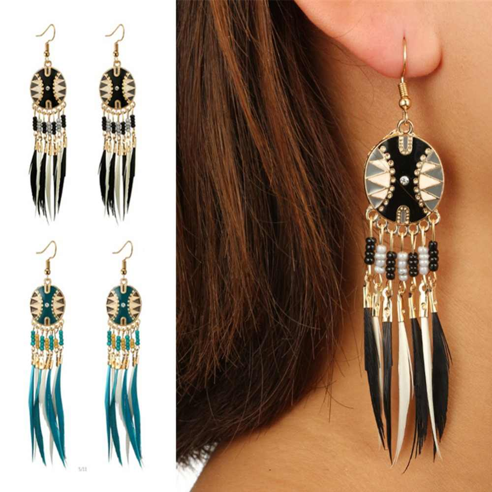 Indian Jewelry Dream Catcher Long Feather Earring Ethnic Water Drop Earrings For Women Bohemia Colorful Beads Tassel Earing Boho