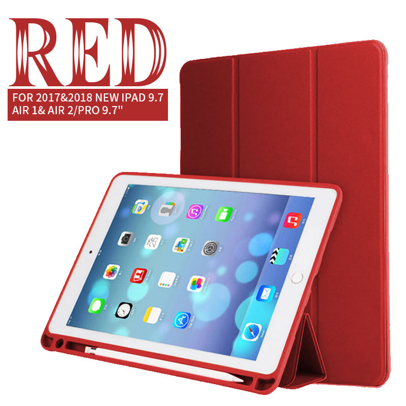 Red Tablet & E-Books Silicone Case with Pencil Slot and 3-Stand For Ipad Pro 10.5 Pro, 2018 Air 1/2