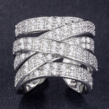 Huitan Hyperbole Cocktail Party Women Ring With Full Tiny Cubic Zircon Stone Setting High Quality Creative Twist