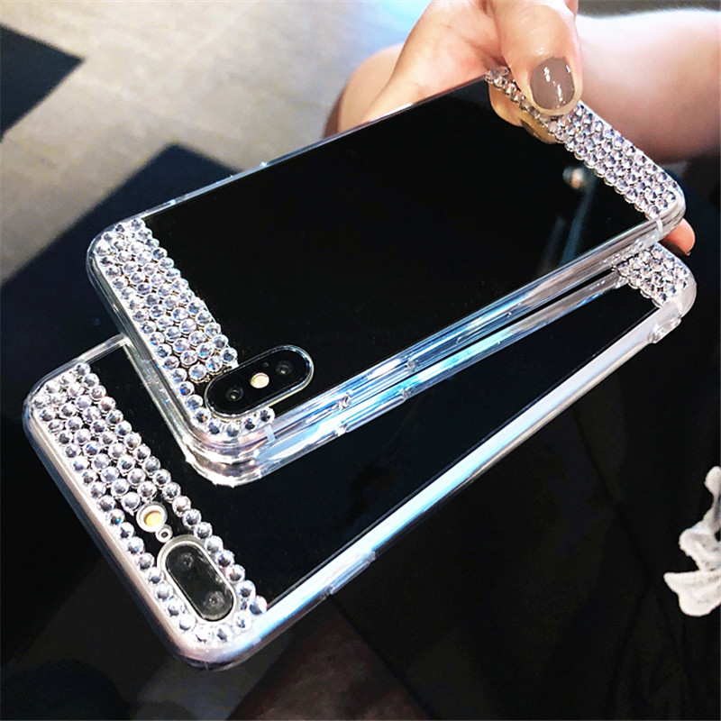 Bling <font><b>Diamond</b></font> Mirror Soft <font><b>Case</b></font> For <font><b>Huawei</b></font> P8 P9 P10 <font><b>P20</b></font> P30 Honor 7A 7C 8 8X 9i 10 Mate 10 20 Nova 2i Lite Plus Pro 2017 Cover image