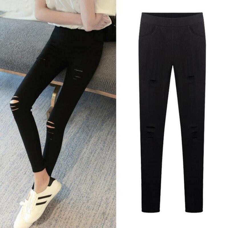 XL 2XL 3XL Women's Pants Plus Size Trousers for Women Ripped Black Slim Pencil Pants Holes Large Size Pantalon Femme High Waist