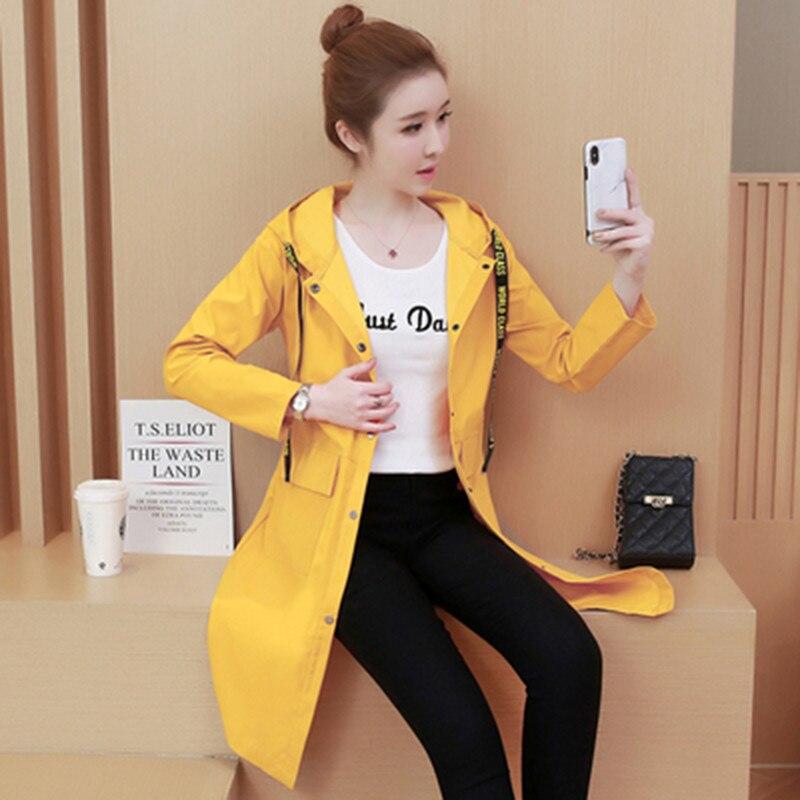 Spring Autumn Fashion Long Trench Coat Women Hooded Single-breasted Thin Windbreaker 2019 Female Korean Casual Elegant Overcoat 29