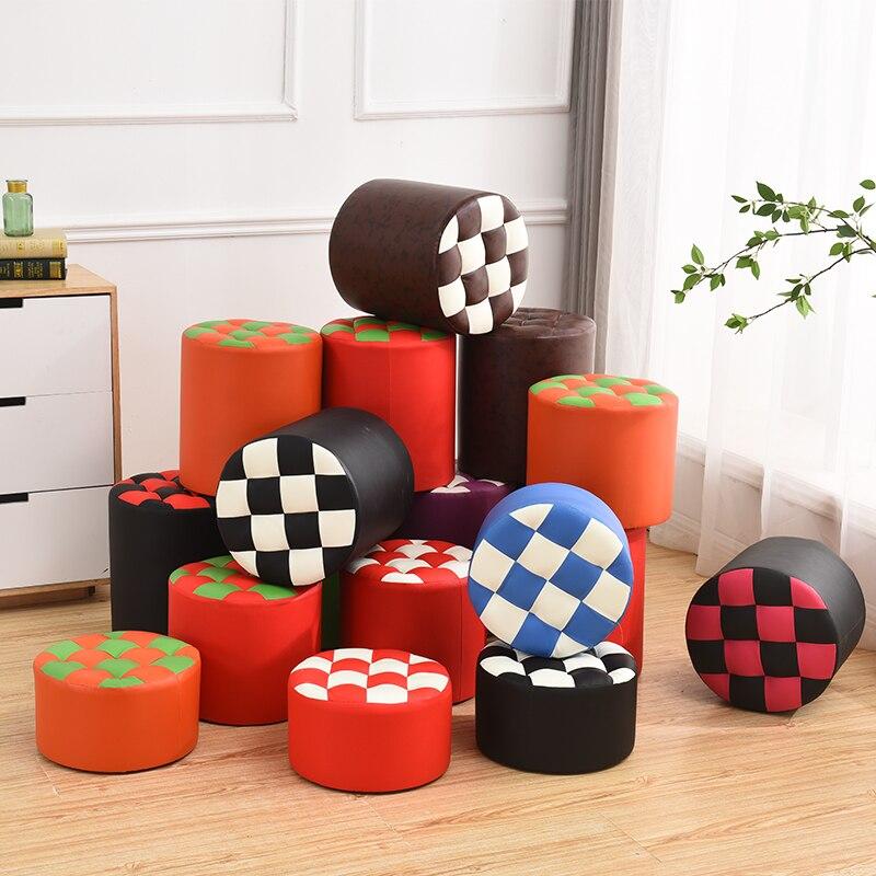 Small Stool Bench Creative Fashion Round Leather Sofa