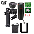 5in1 12X Zoom Camera Telephoto Lens Phone Telescope 3in1 Clip on Lens Kit Wide Angle Fish Eye Macro for iPhone Samsung 12X5in1