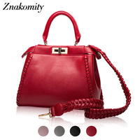 Znakomity Women genuine leather handbags women's Wine red tote bag female Fashion ladies hand bags for woman shoulder bag autumn