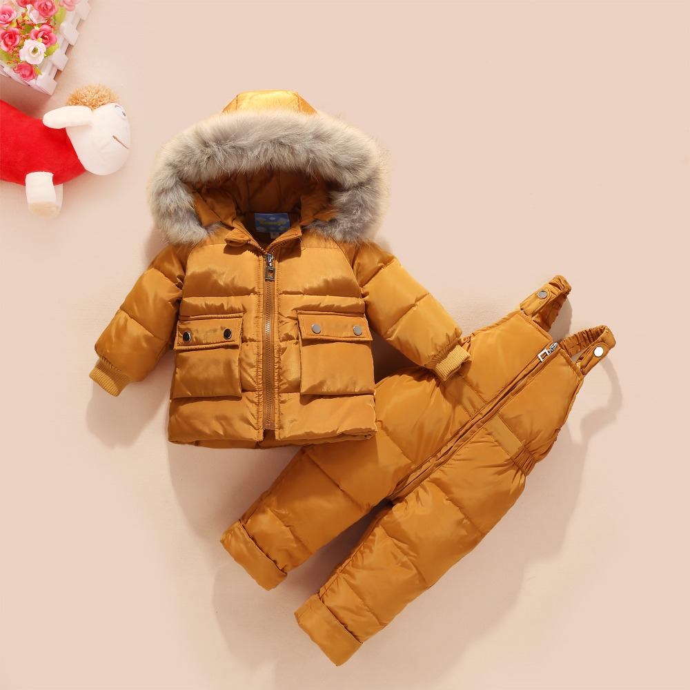 2018 Winter Children Girls Clothing Sets Warm hooded Duck Down Jacket Coats + Trousers Waterproof Snowsuit Kids Baby Clothes new winter girls warm clothing sets fur hooded jacket toddler dot white dark down coat trousers waterproof warm snowsuit clothes