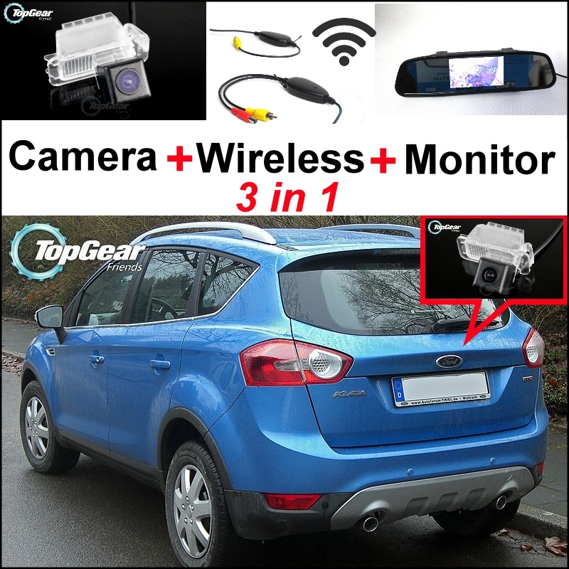 3 in1 Special Rear View Camera + Wireless Receiver + Mirror Monitor Backup Parking System For Ford Kuga 2008~2012 3 in1 special rear view camera wireless receiver mirror monitor parking system for ford ecosport 2013 2015