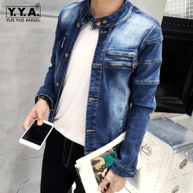 2018 Retro Denim Jacket Mens College Outwear Jeans Jacket Korean
