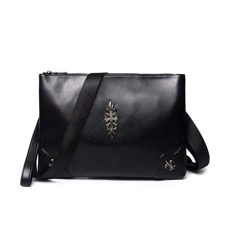 Mens single shoulder and diagonal cross dual hand bag with a bag of retro decorative rivet wrist PU soft leather wrist bag